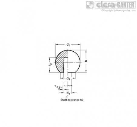 Шарообразные ручки DIN 319-KT Press on type – Чертеж 1