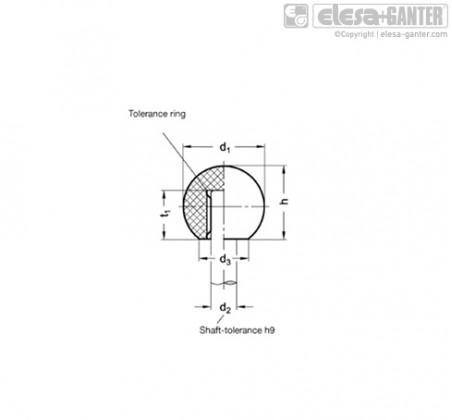 Шарообразные ручки DIN 319-KU Press on type – Чертеж 1