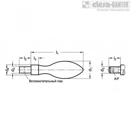 Неподвижные ручки DIN 39-KT – Чертеж 1