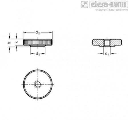 Плоские гайки с насечкой DIN 467-NI – Чертеж 1