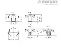 Барашковые поворотные ручки DIN 6336-AL – Чертеж 1