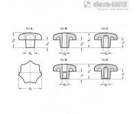 Барашковые поворотные ручки DIN 6336-GG – Чертеж 1