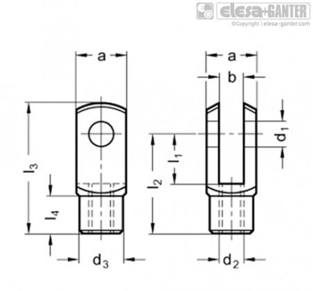 Вильчатые головки DIN 71752-AL – Чертеж 1