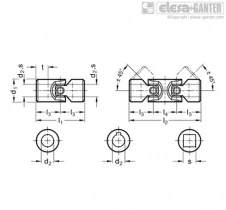 Карданные соединения DIN 808 – Чертеж 1