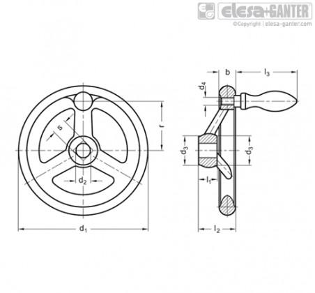 Маховики со спицами DIN 950-F – Чертеж 1