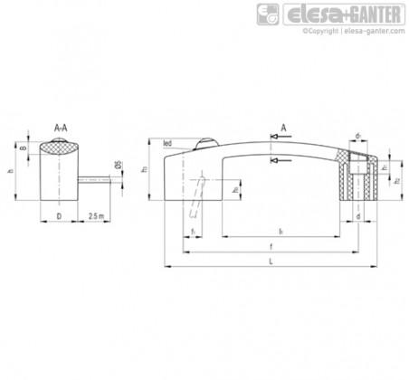 Ручка с микровыключателем EBR-SW-R-F2.5 – Чертеж 1