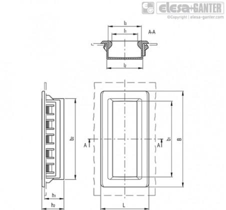 Двунаправленные ручки-купе ERB-PF – Чертеж 1