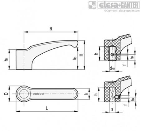 Ручки рычажного типа ERF-N – Чертеж 1