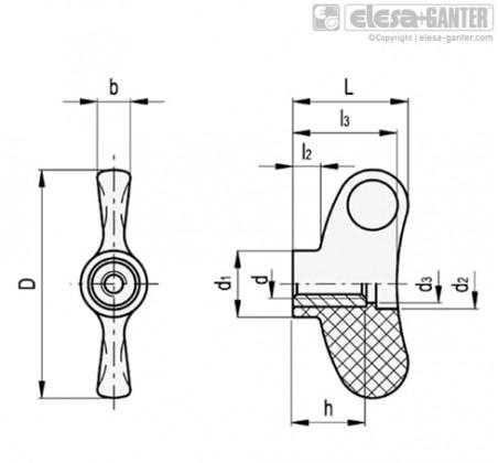 Лепестковые ручки EWN-SST-FP – Чертеж 1