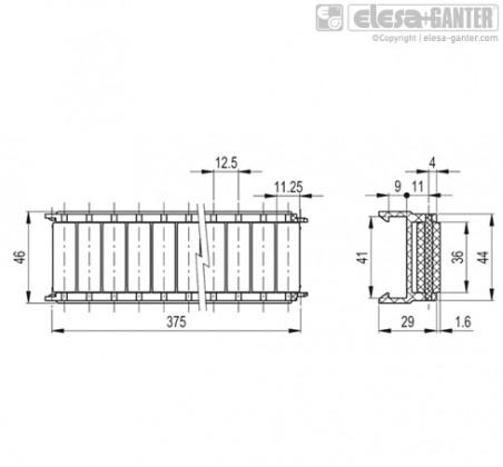 Шарнирно-сочлененные боковые направляющие GLB-1-RC – Чертеж 1