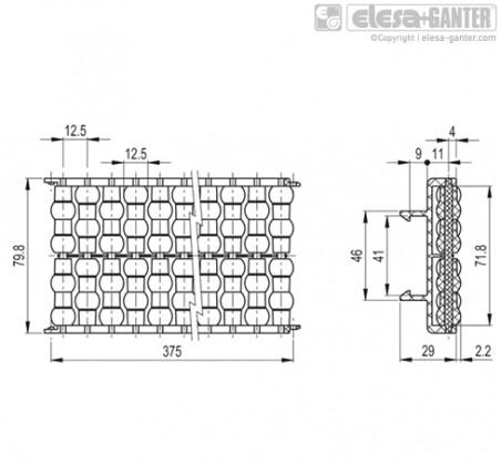 Шарнирно-сочлененные боковые направляющие GLB-2-RS – Чертеж 1