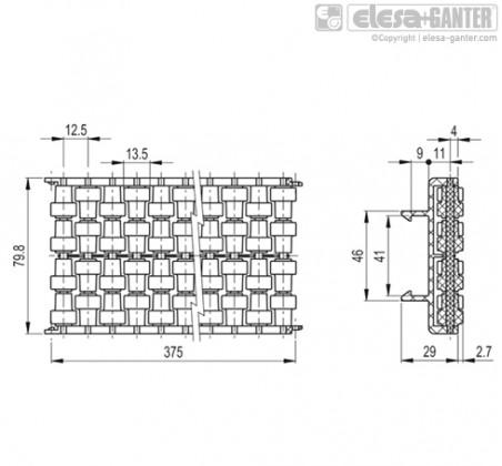 Шарнирно-сочлененные боковые направляющие GLB-2-RT – Чертеж 1