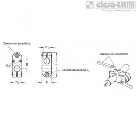 Зажимы линейного привода GN 131.1 – Чертеж 1