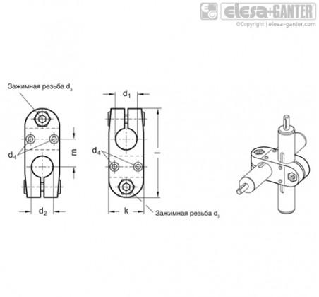 Зажимы линейного привода GN 131.2 – Чертеж 1