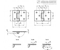 Петли из листового металла GN 136-ST-extended – Чертеж 1