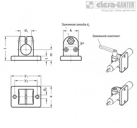 Зажимы линейного привода с фланцем GN 145.1 – Чертеж 1