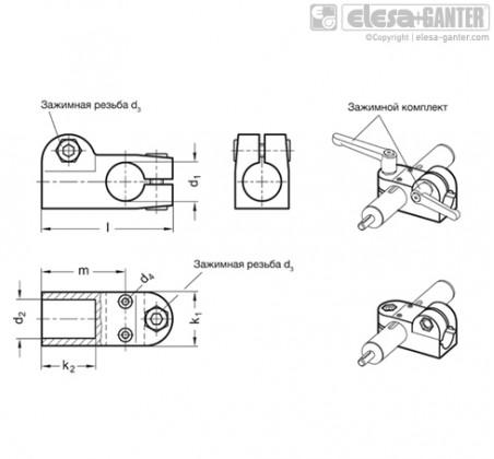 Т-образные угловые зажимы для линейного привода GN 191.1 – Чертеж 1