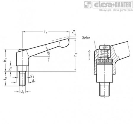 Регулируемые ручки рычажного типа GN 300.2 – Чертеж 1