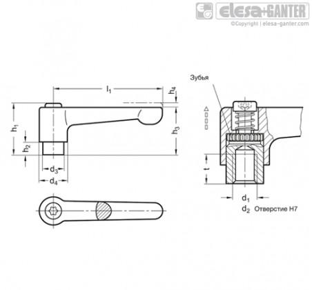 Плоские регулируемые ручки рычажного типа GN 302.1 – Чертеж 1