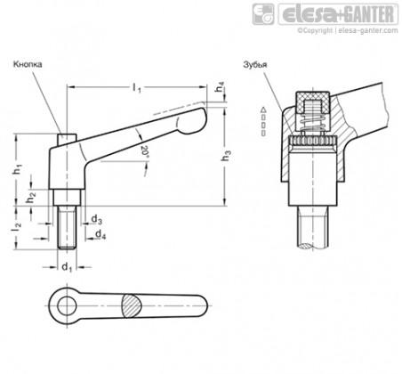 Регулируемые ручки рычажного типа GN 303 – Чертеж 1