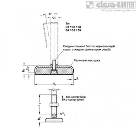 Регулируемые опоры из нержавеющей стали GN 31-T/TK – Чертеж 1