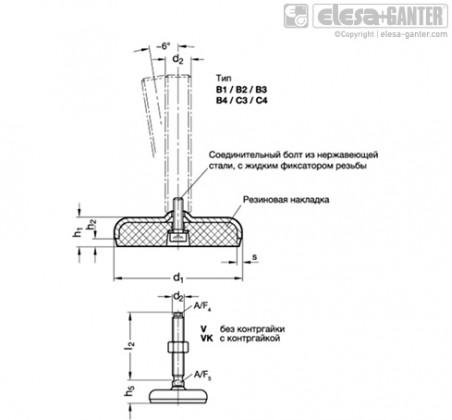 Регулируемые опоры из нержавеющей стали GN 31-V/VK – Чертеж 1