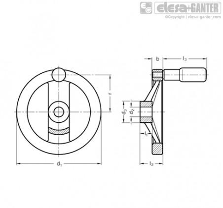 Маховик со спицами GN 322-R – Чертеж 1
