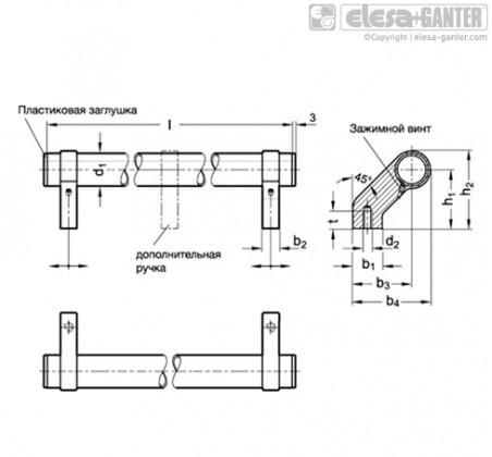 Трубчатые ручки GN 333.2-ELG – Чертеж 1