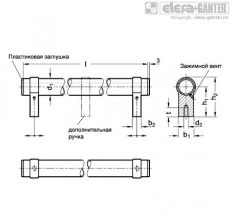 Трубчатые ручки GN 333.3-ELG – Чертеж 1