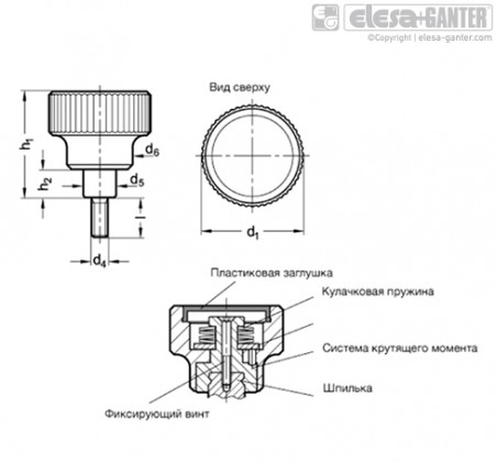 Ручки с накаткой и функцией контроля крутящего момента с внутренней резьбой/со шпилькой GN 3663 – Чертеж 1