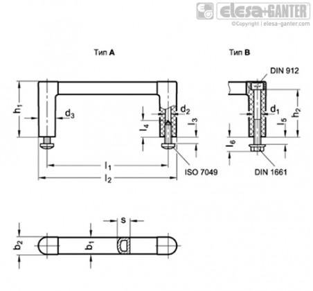 Стоечные ручки GN 423-ELS – Чертеж 1