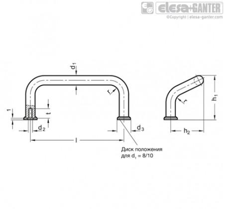 П-образные ручки для ящиков и шкафов GN 425.1-AL – Чертеж 1