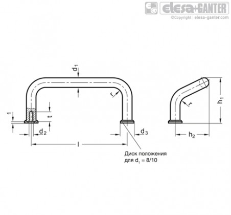П-образные ручки для ящиков и шкафов GN 425.1-NI – Чертеж 1