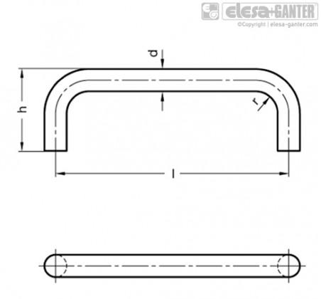 П-образные ручки для ящиков и шкафов GN 425.3 – Чертеж 2