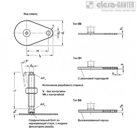 Регулируемые опоры из нержавеющей стали GN 43-V/VK – Чертеж 1