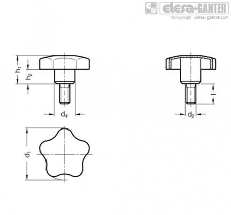 Лепестковые ручки из нержавеющей стали GN 5334 – Чертеж 1