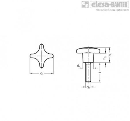 Поворотные ручки GN 6335.5-ES – Чертеж 1