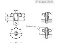 Быстросъемные лепестковые ручки GN 6336.3 – Чертеж 1