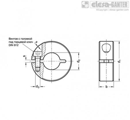 Полуразрезные установочные кольца GN 706.2-AL – Чертеж 1