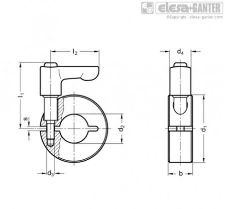 Полуразрезные установочные кольца GN 706.4-ST – Чертеж 1