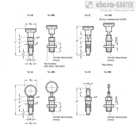 Штифты стопорные (фиксаторы) GN 717-NI – Чертеж 1