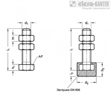 Шпиндельный узел с шарнирным зажимом GN 807 – Чертеж 1