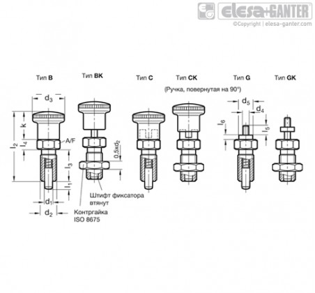 Штифты стопорные (фиксаторы) GN 817-NI – Чертеж 1