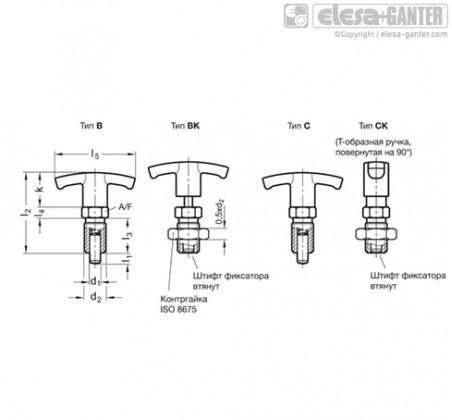 Штифты стопорные (фиксаторы) GN 817.4-NI – Чертеж 1