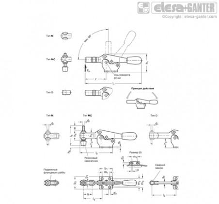 Горизонтальные шарнирные зажимы GN 820 – Чертеж 1