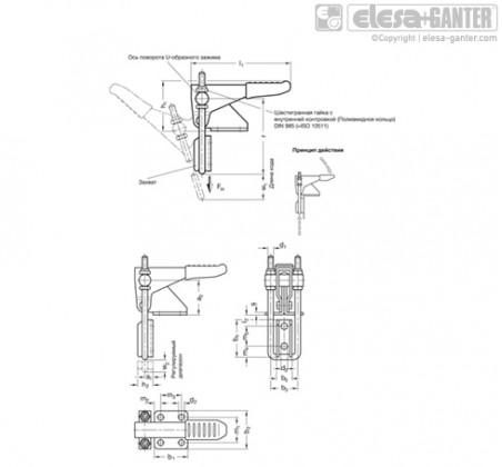 Шарнирно-рычажные зажимы GN 851.1-NI – Чертеж 1