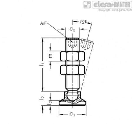 Шпиндельный узел с шарнирным зажимом GN 903-NI – Чертеж 1