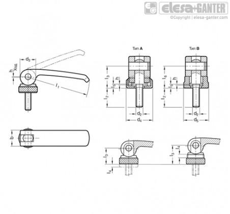 Прижимные ручки с эксцентриковым кулачком GN 927.3 – Чертеж 1