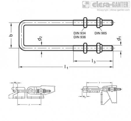 Натяжные задвижки GN 951.1-NI – Чертеж 1