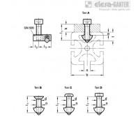 GN 965 для ширин паза 6/8, сборка с использованием гаек для Т-образных пазов с направляющим шагом GN 506 для ширин паза 6/8, сборка с использованием гаек для Т-образных пазов с направляющим шагом GN 506